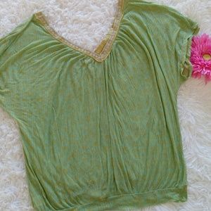 Free People Green Blouse Top size L